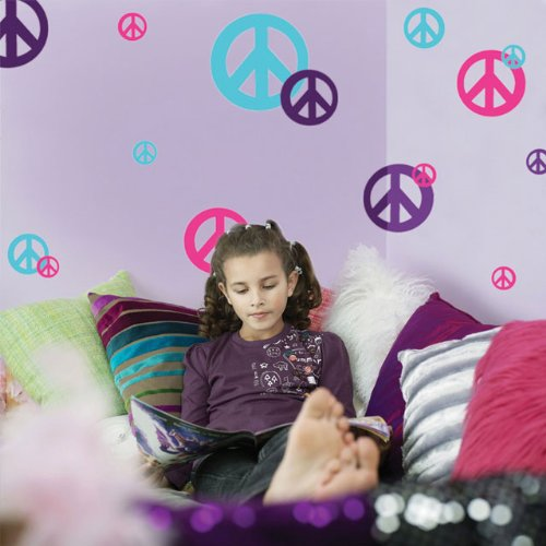 Create-A-Mural Peace Sign Wall Decals-(24) Hot Pink, Teal & Purple Vinyl Peel & Stick Appliques'