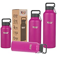 Healthy Human Water Bottles - Cold 24 Hours Hot 12 Hours. Vacuum Insulated Stainless Steel Double Walled Thermos Stein Flask with Carabiner & Hydro Guide