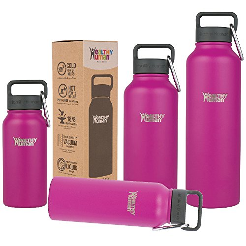 Healthy Human Insulated Water Bottle - Double Walled Sports Vacuum Thermos Wide Mouth Flask. Ideal for Women, Men & Kids - Mulberry - 40 oz