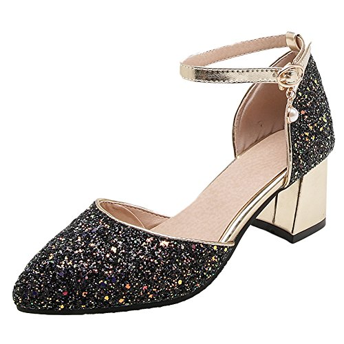 Carolbar Womens Pointed Toe Shiny Sequins Ankle Strap Wedding Sandals Black wNP0CGgy