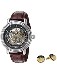 Thomas Earnshaw Men's 'Longcase' Automatic Stainless Steel and Leather Dress Watch, Color:Brown (Model: ES-8011-SETA-01)