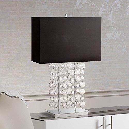 Modern Table Lamp Chrome Clear Bubble Cascade Glass Black Rectangular Shade for Living Room Family Bedroom - Possini Euro Design