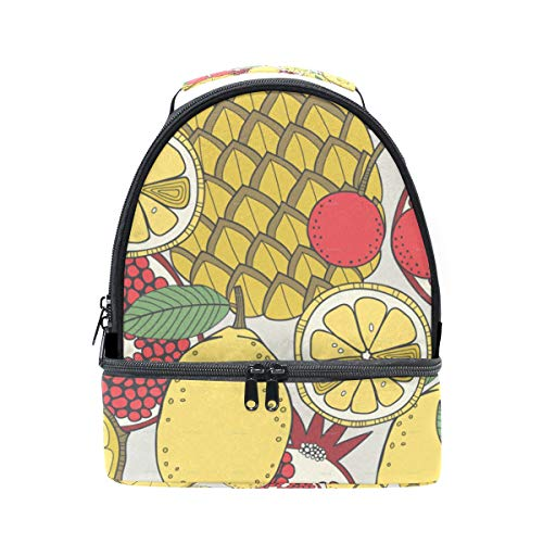 Lunch Box Set Of Fruit Patterns Womens Insulated Lunch Bag Kids Zipper Lunch Tote