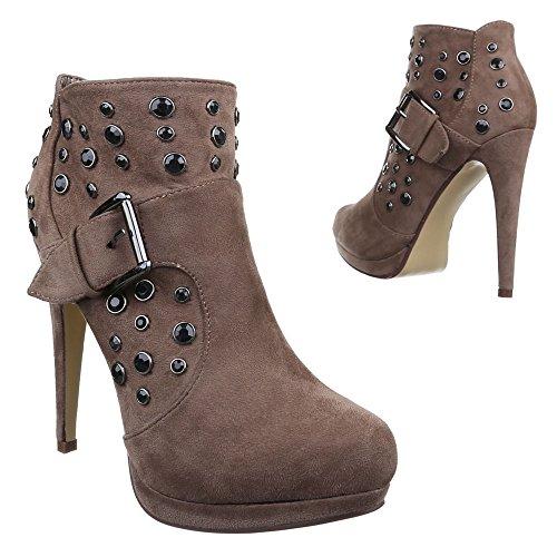 Ital-Design Damen Schuhe, S-27, Stiefeletten High Heels Boots mit DEKO Hellbraun