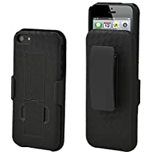 Aduro® Shell Holster Combo Case for Apple iPhone SE / 5 / 5S with Kick-Stand & Belt Clip (At&t, Verizon, T-Mobile & Sprint) [Lifetime Warranty]