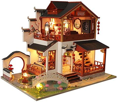 clarelife Miniature Dollhouse DIY Kit 1:24 Wooden Asian Chinese Traditional MansionGarden Pool Dust Cover Architecture Model Kit / clarelife Miniature Dollhouse DIY Kit 1:24 Wooden Asian Chinese Traditional MansionGarden Pool Dust ...