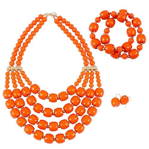 KOSMOS-LI Women's Popular Beaded Orange Layered Statement Necklace Bracelet Earrings Set ()
