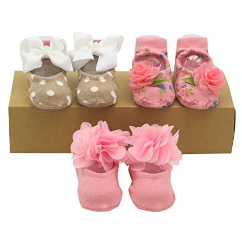 Nihao Baby 3d Baby Socks 0-12/12-24 Months 2t Grip Shoe Socks for Girls (3 pack) (White bow, 12-24 -