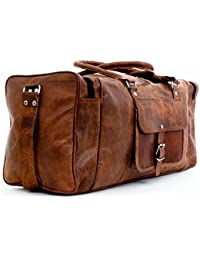 """24"""" Leather Duffel Travel Gym Overnight Weekend Leather Bag Sports Cabin"""