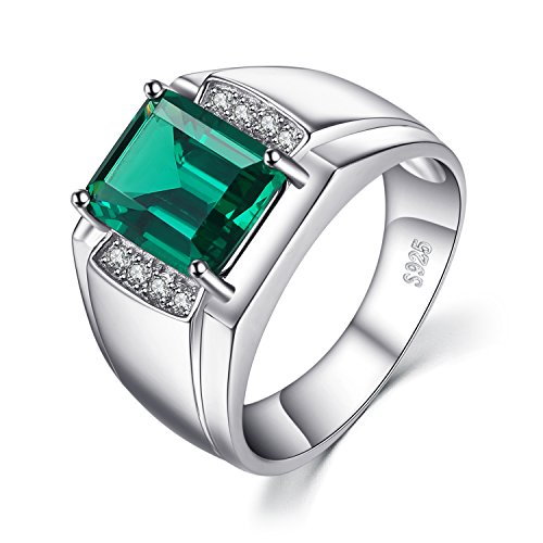 JewelryPalace Men Luxury 2.7ct Simulated Nano Russian Emerald Anniversary Wedding Ring Genuine 925 Sterling Sliver Size -