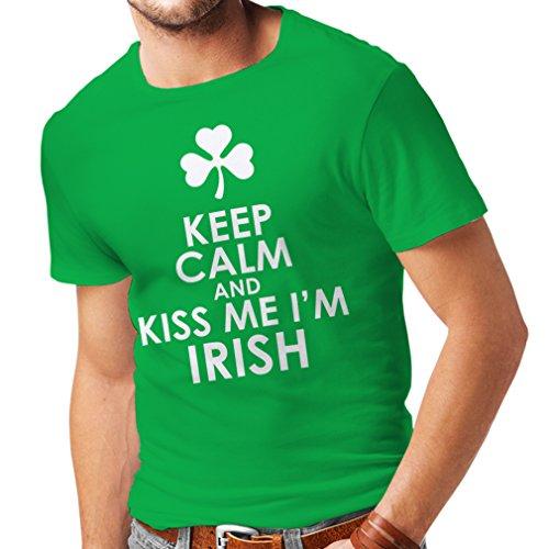 lepni.me T Shirts For Men Kiss Me I'm Irish, Saint Patrick Day Jokes Quotes Shirts (Large Green Multi Color)