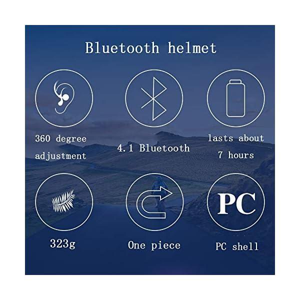 EDW Casco Bluetooth Intelligente per Bici Musica Chiamata Intelligence Cappellino di Sicurezza Equipaggiamento Protettivo Antiurto Leggero 5 Colori Incluso fanale Posteriore Staccabile,Whitered 7 spesavip