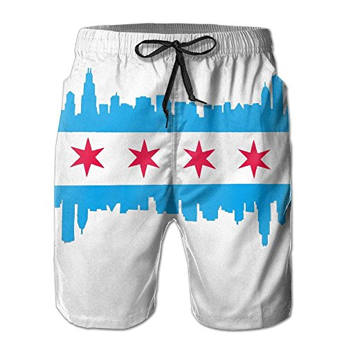 Pants Chicago Shorts Beach White Beach Trunks Swim Flag Mens SSxwqT70