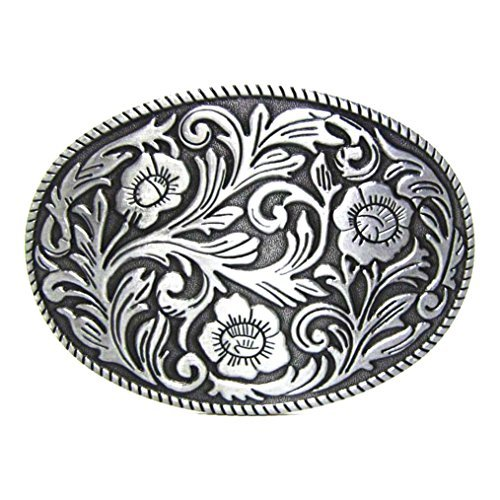 MASOP Antique Engraved Flower Solid Metal Belt Buckle Men Women Western Cowboy