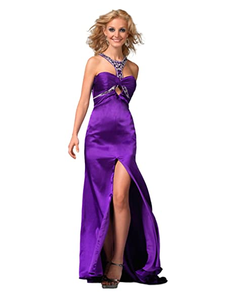 Amazon.com: Clarisse Jeweled Halter Prom Dress with Slit 1555: Clothing