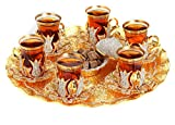 Gold Case Gold plated Turkish Tea Glasses Service Set for 6 - Additionally Hand Decorated with Swarovski Crystals - Made in Turkey - 21 pieced METAL set including tray and etc. in Gift Box, Gold