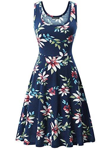 (FENSACE Womens A Line Flower Midi Tshirt Bohemian Dress, Navy Blue, XX-Large)