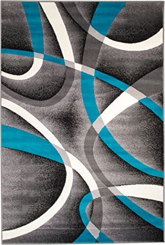 Summit 035 Turquoise Grey Area Rug Modern Abstract Rug Many