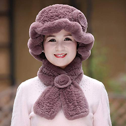 Brown Ladies Autumn Winter Wool Winter Scarf Mother Grandma Fur hat