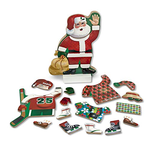 Melissa & Doug Santa Wooden Dress-Up Doll and Stand With Magnetic Accessories (22 pcs) (Magnetic Hockey)