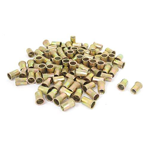 - uxcell 100 Pcs 14mm Long Flat Head Rivet Nut Insert Nutserts Fasteners M6x1.0mm