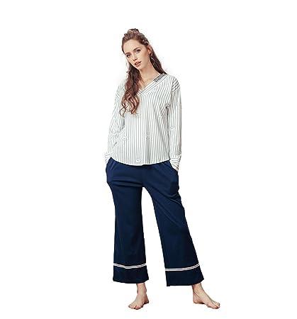 White Lady Elegante pijama de cuello en V pantalones de manga larga de algodón hecho punto