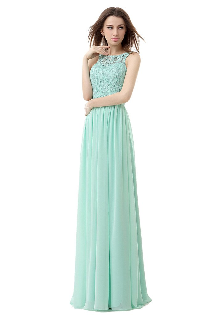 Ikerenwedding Women's Straps Lace Chiffon Bridesmaid Dress Formal Evening Gown Cyan US10
