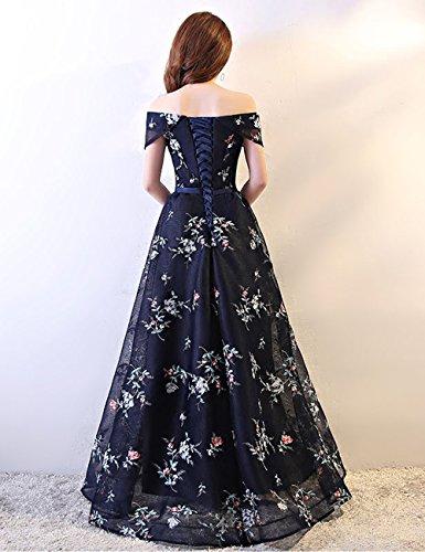Abendkleider Ballkleid mit Damen Ärmel LuckyShe Elegant Dunkelblau Schulterfrei Lang 7q4BS