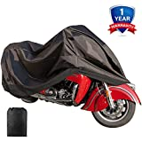 Motorcycle Cover Waterproof Sunblock Dustproof Outdoor Garage Motor Cover with 3 Adjustable Buckles XXXL Fit up to 108
