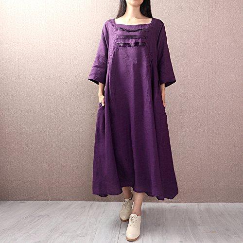 Vestido Suelto Vestido Verano Lino XIU Fiesta La F El De Violet Largo Y RONG Primavera Y Chicas Roja Algodón Collar Rosa De q6YxZX6