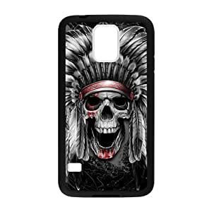 Samsung Galaxy S5 Case,Aztec Tribal Indians Chief Skull High Definition Pattern Cover With Hign Quality Rubber Plastic Protection Case