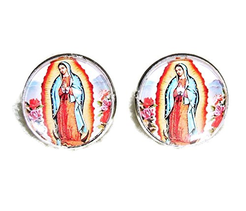 VIRGIN OF GUADALUPE CUFFLINKS OUR LADY SILVER PLATED CUFF LINKS WITH GLASS DOME COVER