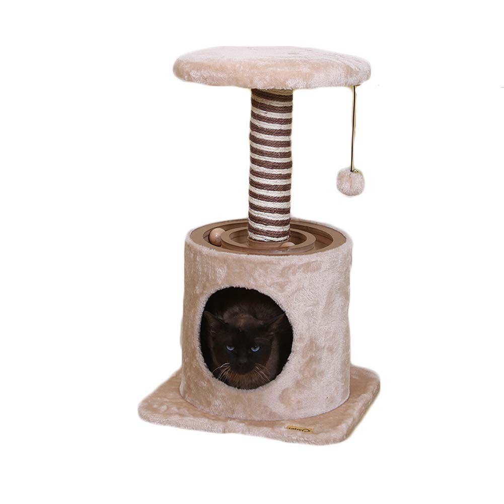 Cat Climbing Frame, Two-Layer Train Track Ball Toy, Two-color Sisal Cat Litter Cat Jumping Platform
