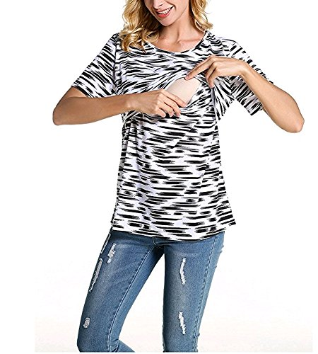 BEAdressy Fashion Women Short Sleeve Double Layer Maternity Nursing Tops Shirts for Breastfeeding (L, Black)