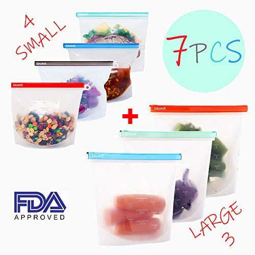 (Reusable Silicone Food Storage Eco Bulk Bags Size Ziplock Plastic Containers Cooking Bag Sets for Sous Vide Liquid Snack Lunch Freezer Microwave 7 Silicone Storage Bags for Fruits Vegetables Set )