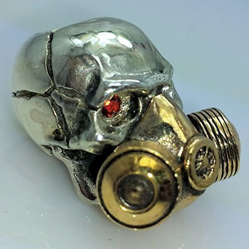 Gas Mask with Red Rhinestone Eyes Paracord / Lanyard Bead in .925 Sterling Silver & Bronze by GD Skulls by Jig Pro Shop