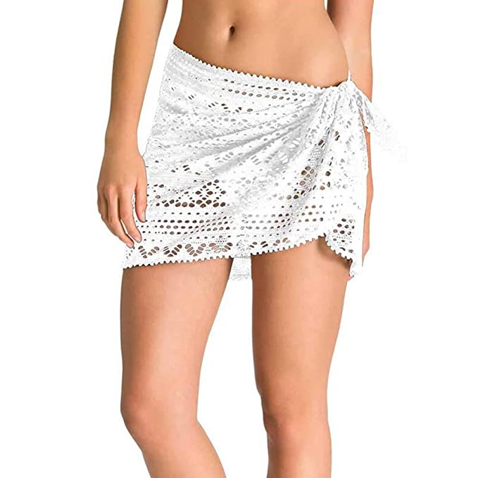 NDY Mini Falda, Estilo Beach Resort, Moda Blanca, Ganchillo, Medio ...