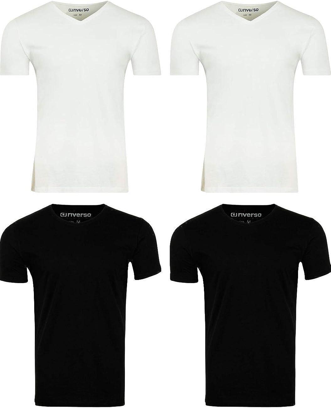 Riverso - Pack de 4 camisetas básicas para hombre RIVNico, cuello en V, de manga corta, de algodón, color blanco, negro, gris, azul, S, M, L, XL, 2XL, 3XL, 4XL, 5XL: Amazon.es: