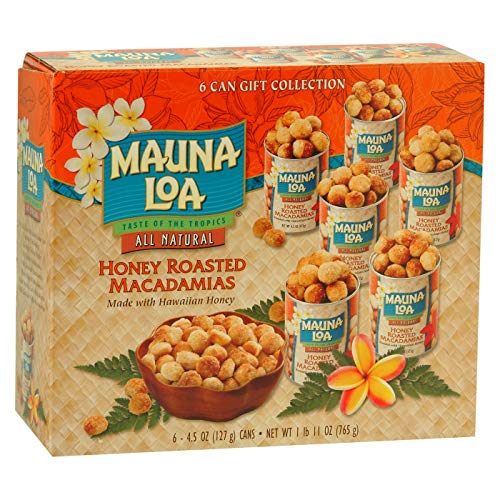Mauna Loa Macadamia Nuts 6 Can Gift Box (Honey, Dry, and Classic Assortment) (Honey Roasted)