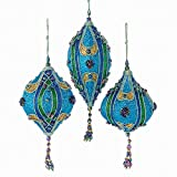 Kurt Adler Teal, Green And Blue Glitter Finials And Drop Ornament Set Of 3