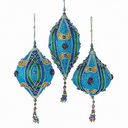 Kurt Adler Teal, Green And Blue Glitter Finials And Drop Ornament Set (Blue Spirals Teardrop Pendant)