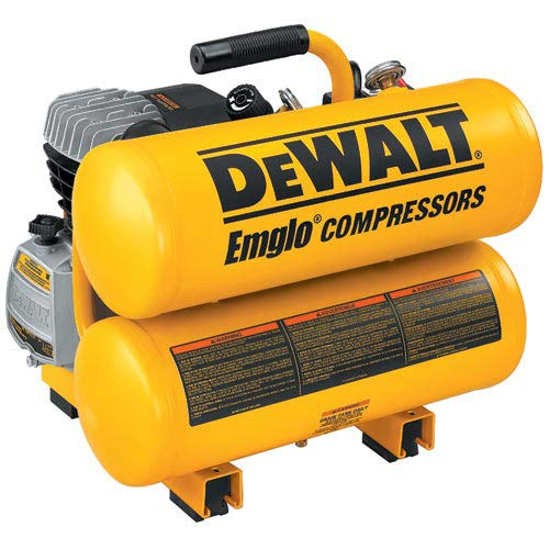 Factory Reconditioned Air Compressor - Factory-Reconditioned DEWALT D55153R 15 Amp 2 Horsepower 4 Gallon Oiled Twin Hot Dog Compressor