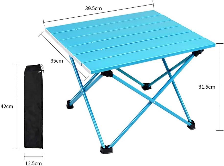 Bling Table de Camping Portable avec Table en Aluminium, Plage Table Pliante Facile à Transporter, préfet en Plein air, Pique-Nique, Barbecue, Cuisine, Festival, Plage, Blue