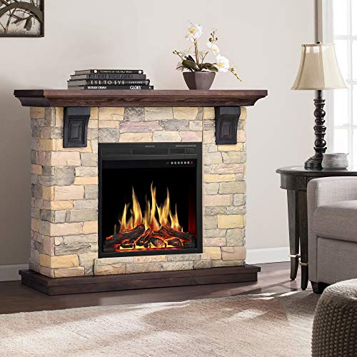 Jamfly Electric Fireplace Wall Mantel In Faux Stone Birch