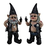 Cheap Zeckos Gnoschitt & Gnofun The Naughty Biker Gnomes Statue Motorcycle Leather 13 Inch