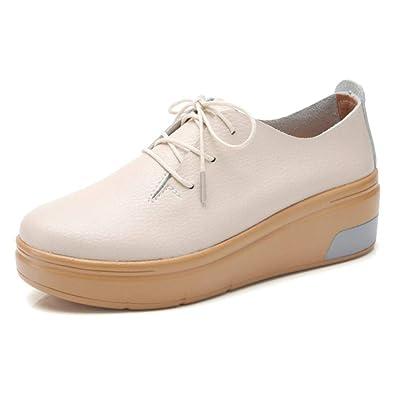 TRULAND Chaussures de Ville à Lacets en Cuir Derby Derbies Femme Plateforme  Semelle Compensée ( 769ba27758cb