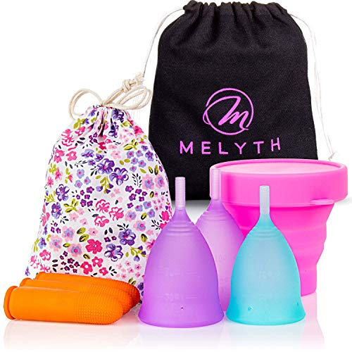 Melyth Reusable Menstrual Cups 3X - (2X Large & 1x Small) - with Latex Finger Protection Sleeves, Sterilizing Cup and Carry Bag - Sanitary Cup Alternative to Tampons and Sanitary Towels