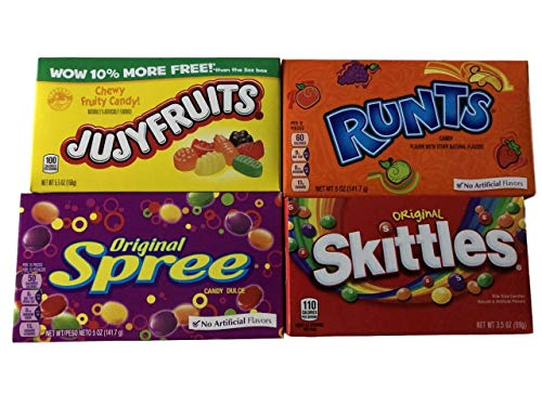 (Fruit Candy Theater Box Bundle! Skittles, Runts, Spree and Jujyfruits! A total of 4 theater size boxes. )