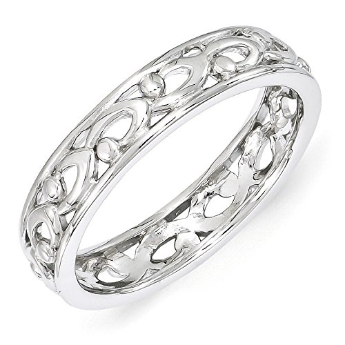 4.25mm Rhodium Plated Sterling Silver Stackable Carved Band Size (Carved Band)