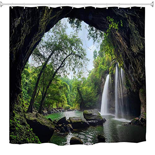 Dolphin Waterfall (SPXUBZ Nature Waterfall Summer Cave in Waterfall National Park Thailand Forest Jungle Rocky Scene Landscape Set Shower Curtain Waterproof Bathroom Decor Polyester Fabric Curtain Sets with Hooks)